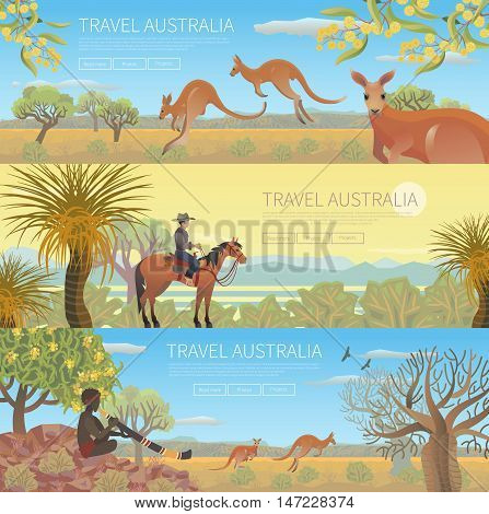 Set of Australian travel posters. Every element is located on a separate layer. Images is cropped with Clipping Mask. Easy to edit
