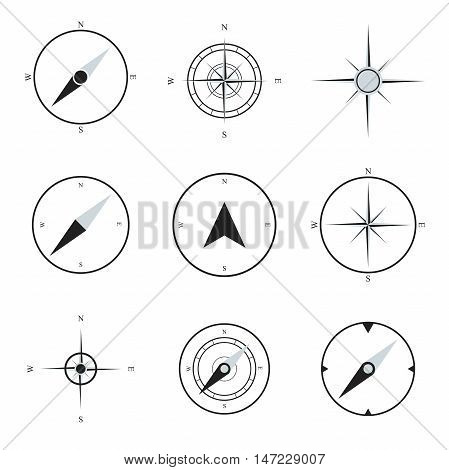 Compass flat icons collection. Navigation icons set. Vector compasses