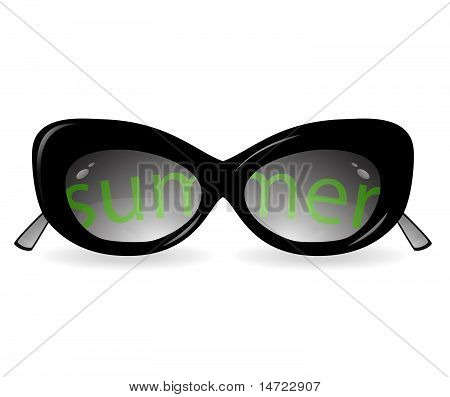 Isolated sun glasses with an inscription