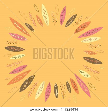 Funny autumn leaves forming a wreath. Banner. Place for text in the middle of circle. Vector illustration