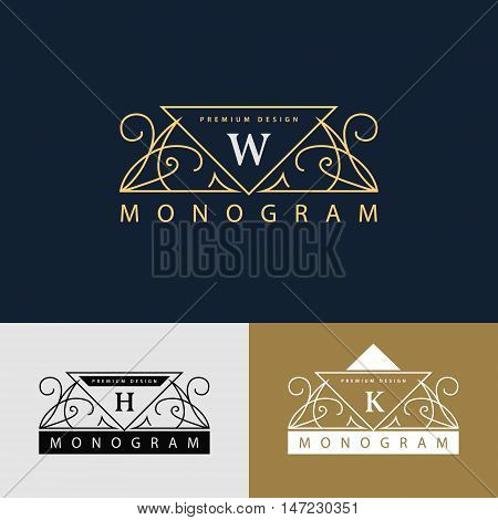 Vector illustration of Monogram design elements graceful template. Elegant line art logo design. Beautiful frame. Emblem letter W. H R for Restaurant Web design Boutique Hotel Heraldic Jewelry