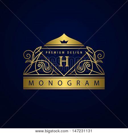 Vector illustration of Monogram design elements graceful template. Elegant line art logo design. Muslim dome frame. Gold Emblem letter H for Restaurant Web design Boutique Hotel Heraldic Jewelry