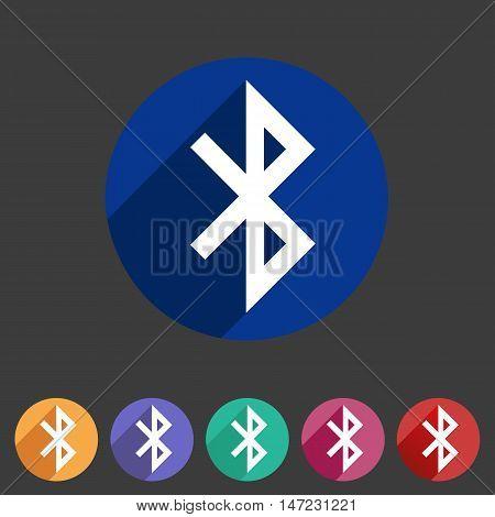 Bluetooth connection icon flat web sign symbol logo label set