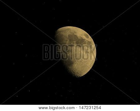 Gibbous Moon With Stars Sepia