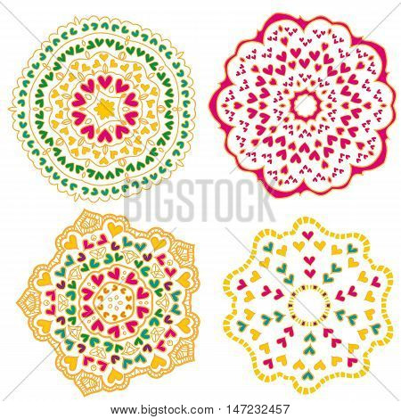 Colorful heart ornament collection isolated over white background