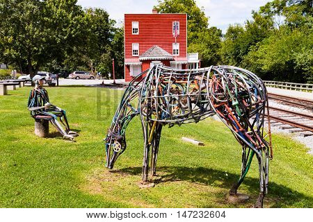 Hanover Junction PA - September 2 2016: A whimsical art sculpture located along a part of the York County Parks rail trail at the historic railroad station.