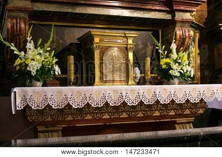 POLAND, KRAKOW - MAY 27, 2016: Elements of interior in the medieval St Mary's church in Krakow. St. Mary's Church was built in the XIII-XIV century.