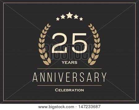 Twenty five years anniversary celebration logotype. 25th anniversary logo. Vector illustration.