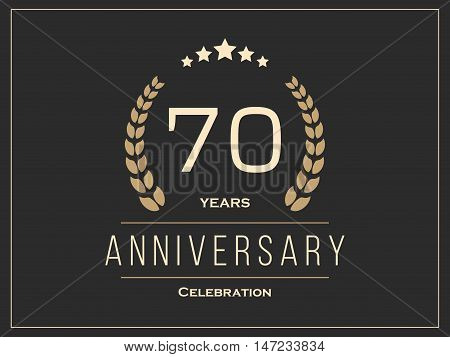Seventy years anniversary celebration logotype. 70th anniversary logo. Vector illustration.
