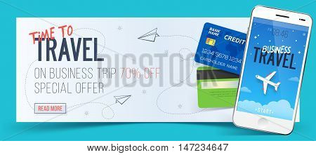 Special offer on business Travel. Business trip banner. Smartphone and credit cards. Air travel concept. Business travel illustration. 70% off.