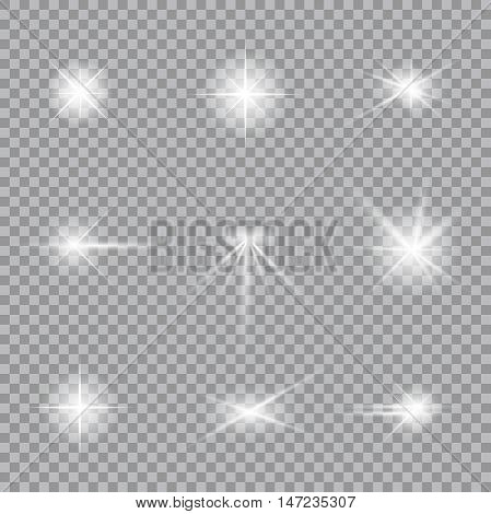 Lighting flare collection. Realistic glowing light stars. Beautiful shining elements. Set of glow effects. Vector illustration eps 10