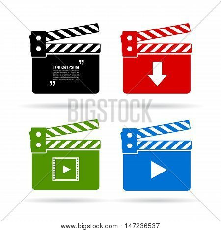 Video clapper icon set vector illustration isolated on white background