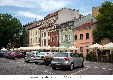 POLAND, KRAKOW - MAY 27, 2016: In the centre streets of the Kazimierz Jewish district of Krakow. For many centuries, Kazimierz was a place of coexistence and interpenetration of Christian and Jewish cultures.