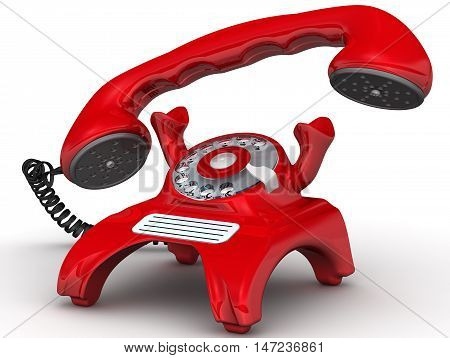 Red telephone with lifted handset. Vintage telephone in red standing on the white surface with lifted handset. Isolated. 3D Illustration