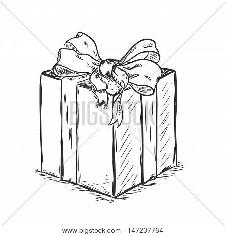 Vector Sketch Illustration - Gift Box