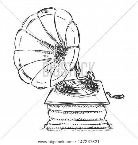 Vector Sketch Illustration - Retro Gramophone
