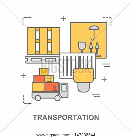 Thin line flat design banner for transportation, warehouse stock and industrial storage. Modern vector illustration concept, isolated on white.