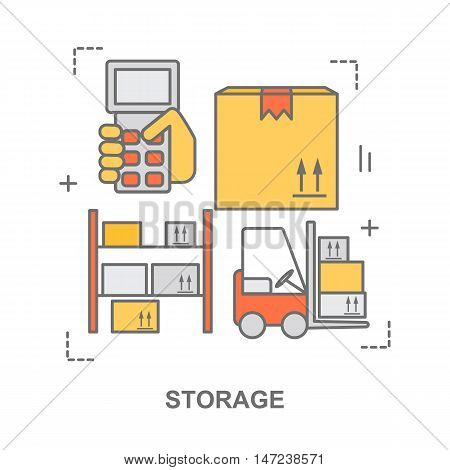 Thin line flat design banner for warehouse stock and industrial storage. Modern vector illustration concept, isolated on white.