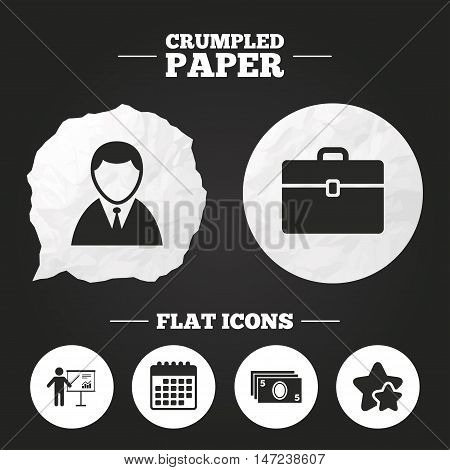 Crumpled paper speech bubble. Businessman icons. Human silhouette and cash money signs. Case and presentation with chart symbols. Paper button. Vector
