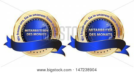 Employee of the Month, We are happy to have you in our team (Translation of the German text: Mitarbeiter / in des Monats. Wir freuen uns, Sie in unserem Team zu habben) set of blue ribbons