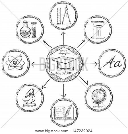 Vector Sketch Education Infographic Template