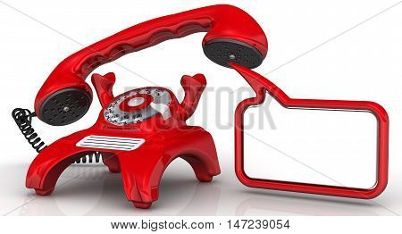 Red telephone with lifted handset and dialog cloud. Vintage telephone in red standing on the white surface with lifted handset and dialog cloud. Isolated. 3D Illustration