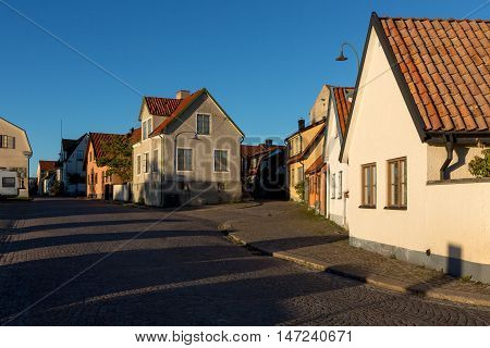 Medieval alley in the historic Hanse town Visby Sweden.