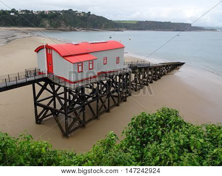 Lifeboat house beach seascape photographed at Tenby in Pembrokeshire