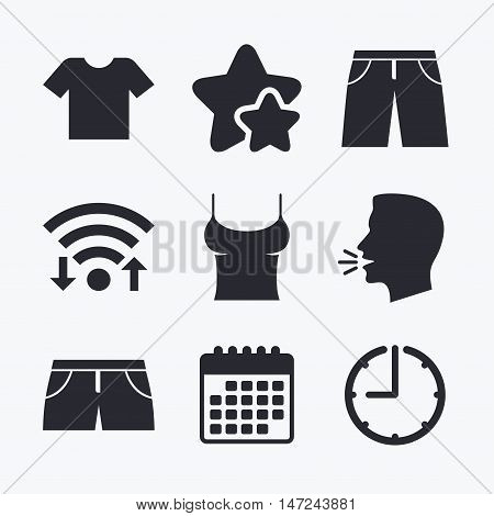 Clothes icons. T-shirt and pants with shorts signs. Swimming trunks symbol. Wifi internet, favorite stars, calendar and clock. Talking head. Vector