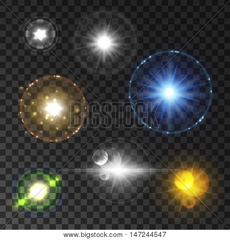 Shining star and sun light set with lens flare effect. Twinkling flash sparkles on transparent background