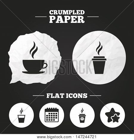 Crumpled paper speech bubble. Coffee cup icon. Hot drinks glasses symbols. Take away or take-out tea beverage signs. Paper button. Vector