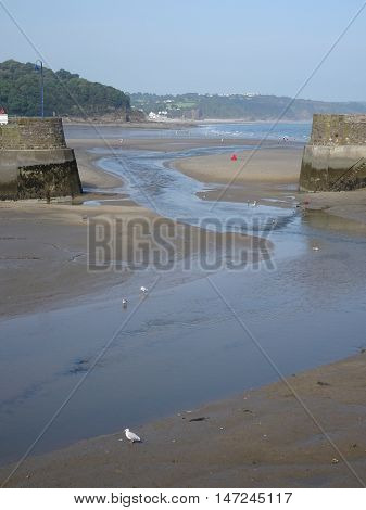 Beach harbour river seascape photographed at Saunderfoot in Pembrokeshire