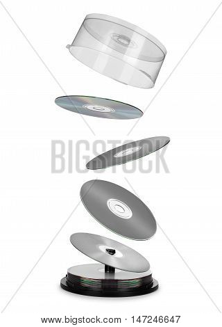 compact disks fly out of the box on white background