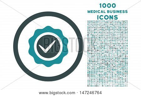 Valid rounded vector bicolor icon with 1000 medical business icons. Set style is flat pictograms, soft blue colors, white background.
