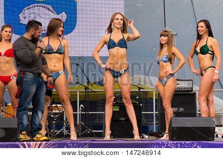 RUSSIA, ZELENOGRADSK - SEPTEMBER 03, 2016: Open festival bikini Miss Fitness as a part of the celebration of the City Day. In the resort town of Zelenogradsk (Cranz). Russia.