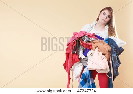 Woman Carrying Dirty Laundry Clothes.