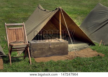 Military Encampment - tents, chair and footlocker