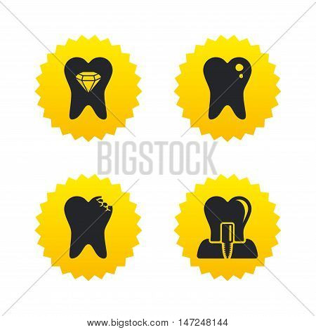 Dental care icons. Caries tooth sign. Tooth endosseous implant symbol. Tooth crystal jewellery. Yellow stars labels with flat icons. Vector