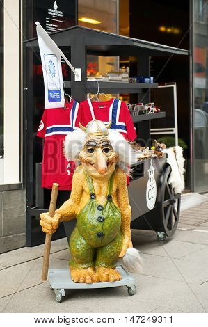 OSLO, NORWAY - AUGUST 26, 2016: The Souvenir Shop in Oslo