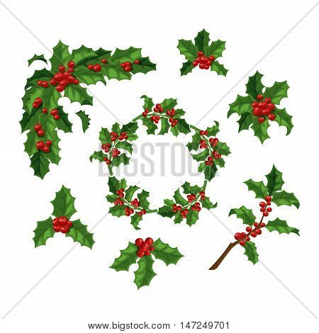 Merry Christmas mistletoe with berry frame. Traditional hand drawn christmas berry decoration greeting card. Holiday vector christmas berry decoration floral design isolated on white background.