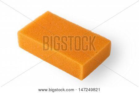 Orange squire bath sponge isolated on white
