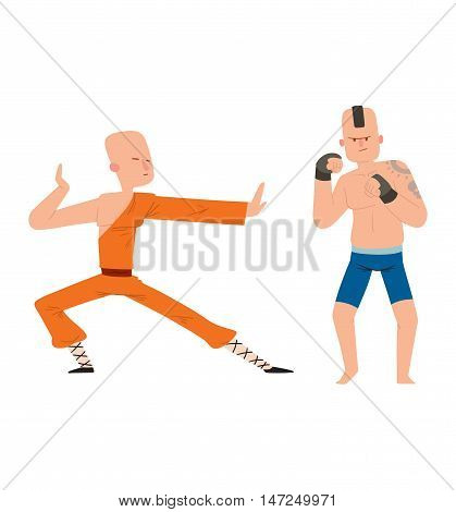 Fighter monk and kickboxer man kick punch grab throw body vector. Athlete training martial monk fighter people symbol character. Fighter man strong gym kick body. Fight monk people