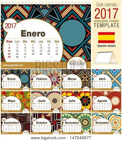 Desk triangle calendar 2017 template with native rosettes design. Size: 210mm x 150mm. Format horizontal. Vector image. Spanish version