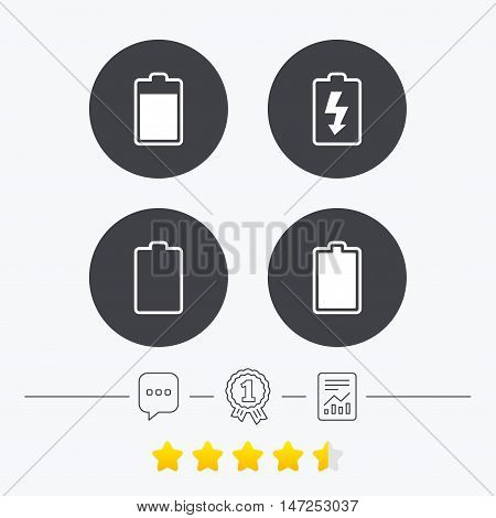 Battery charging icons. Electricity signs symbols. Charge levels: full, empty. Chat, award medal and report linear icons. Star vote ranking. Vector