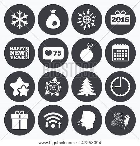 Calendar, wifi and clock symbols. Like counter, stars symbols. Christmas, new year icons. Gift box, fireworks and snowflake signs. Santa bag, salut and decoration ball symbols. Talking head, go to web symbols. Vector