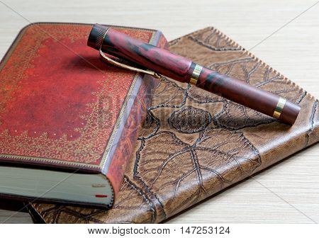 The  Writing-book In A Leather Cover And  Pen