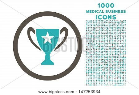 Trophy Cup rounded vector bicolor icon with 1000 medical business icons. Set style is flat pictograms, grey and cyan colors, white background.