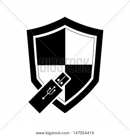 flat design single shield and  usb drive icon vector illustration