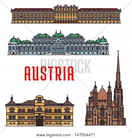 Historic buildings and sightseeing landmarks of Austria. Vector detailed icons of Schonbrunn Palace, St. Stephen Cathedral, Belvedere, Hellbrunn Palace. Austrian showplaces for souvenirs, postcards