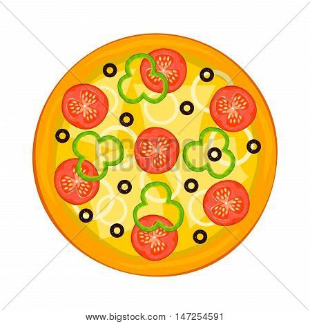 Hot fragrant pizza view from above, fast food delivery logo, vector illustration